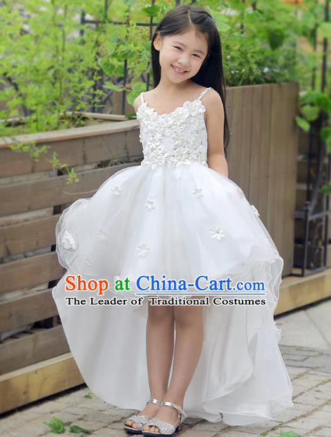 Children Fairy Princess White Veil Mullet Dress Stage Performance Catwalks Compere Costume for Kids