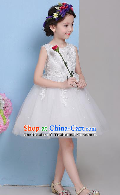 Children Fairy Princess White Veil Bubble Dress Stage Performance Catwalks Compere Costume for Kids