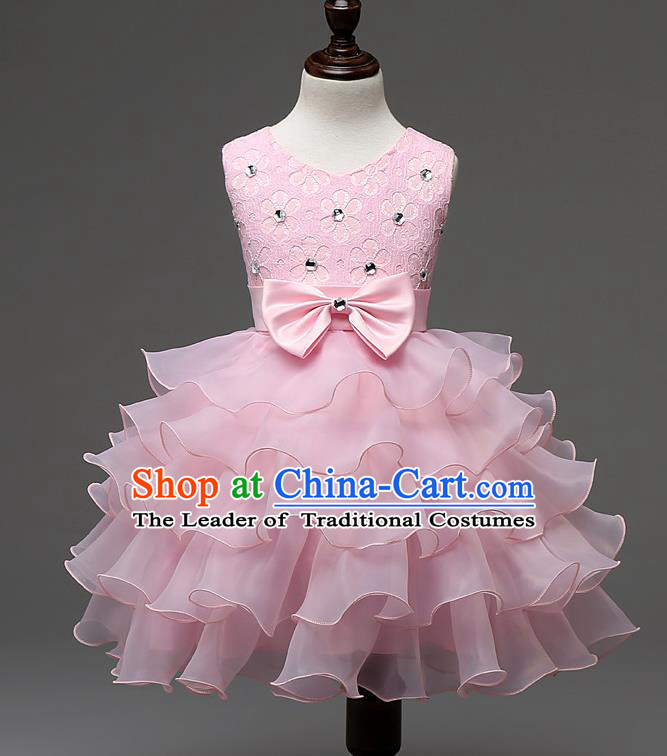 Children Fairy Princess Pink Layered Dress Stage Performance Catwalks Compere Costume for Kids