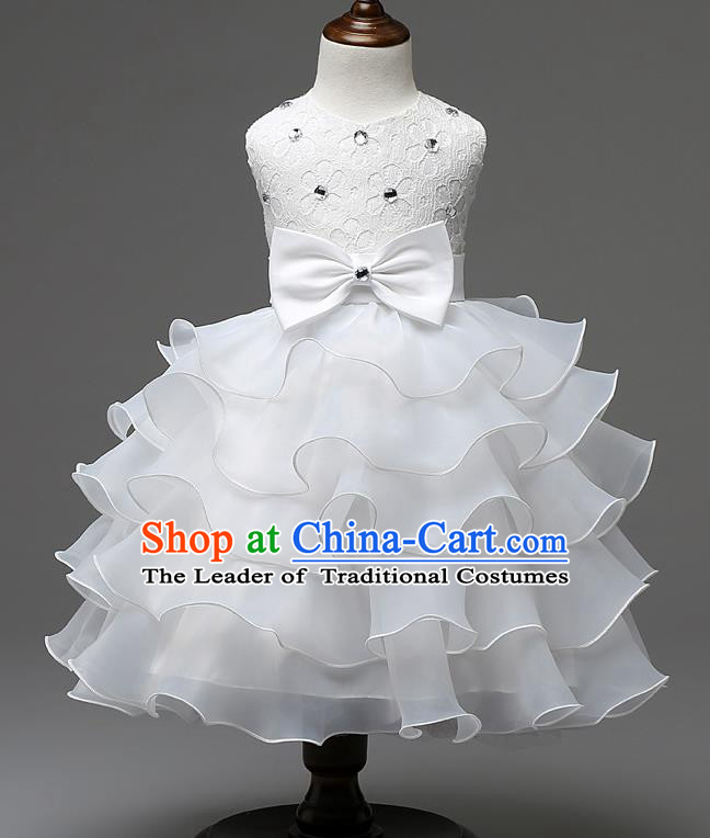 Children Fairy Princess White Layered Dress Stage Performance Catwalks Compere Costume for Kids