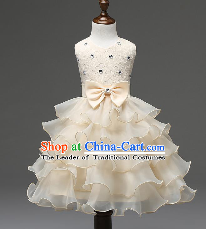 Children Fairy Princess Champagne Layered Dress Stage Performance Catwalks Compere Costume for Kids