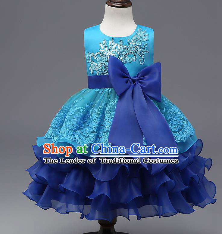 Children Flower Fairy Costume Modern Dance Stage Performance Catwalks Compere Blue Full Dress for Kids