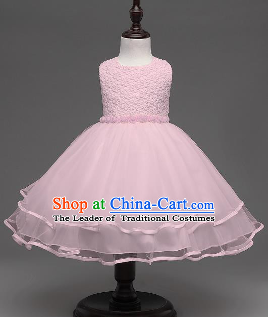 Children Flower Fairy Costume Modern Dance Stage Performance Catwalks Compere Pink Dress for Kids