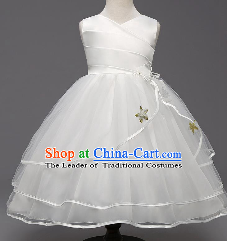 Children Flower Fairy Costume Compere Modern Dance Stage Performance Catwalks White Dress for Kids