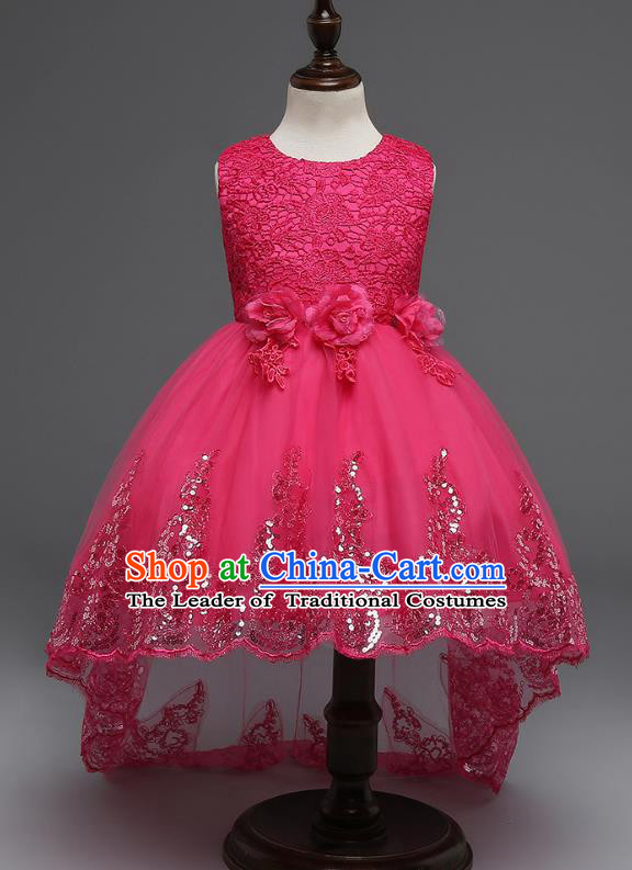 Children Fairy Princess Rosy Lace Dress Stage Performance Catwalks Compere Costume for Kids
