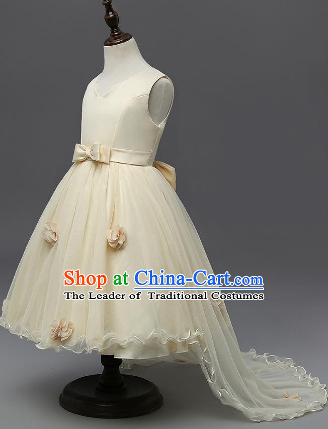 Children Fairy Princess Champagne Veil Dress Stage Performance Catwalks Compere Costume for Kids