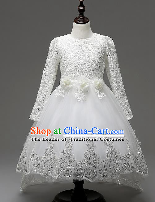 Children Fairy Princess White Lace Trailing Dress Stage Performance Catwalks Compere Costume for Kids