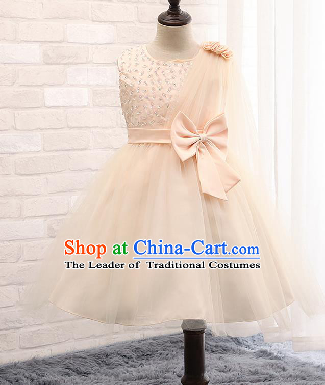 Children Fairy Princess Bowknot Champagne Dress Stage Performance Catwalks Compere Costume for Kids