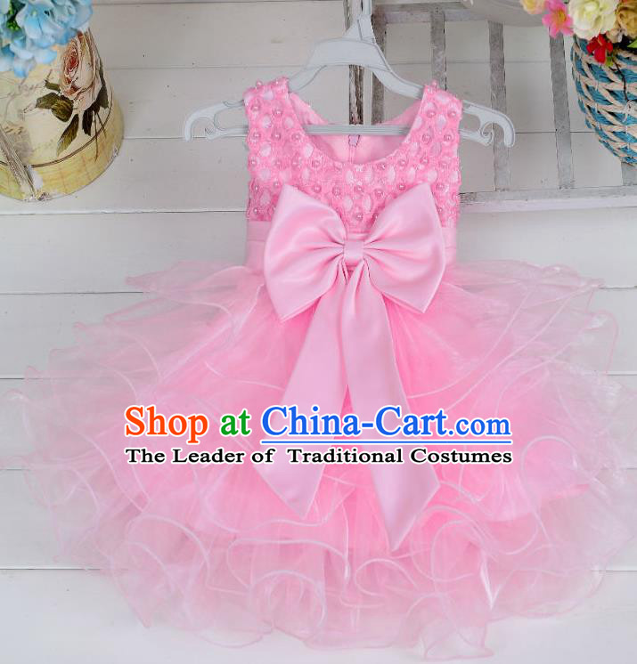 Children Fairy Princess Pink Bubble Dress Stage Performance Catwalks Compere Costume for Kids