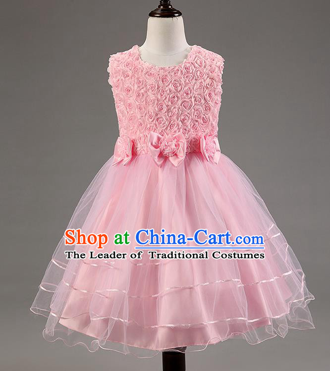 Children Modern Dance Pink Dress Stage Performance Catwalks Compere Costume for Kids
