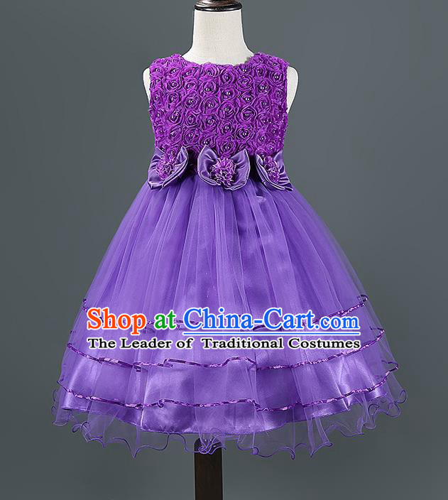 Children Modern Dance Purple Dress Stage Performance Catwalks Compere Costume for Kids