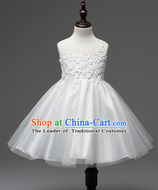 Children Modern Dance White Lace Dress Stage Performance Catwalks Compere Costume for Kids