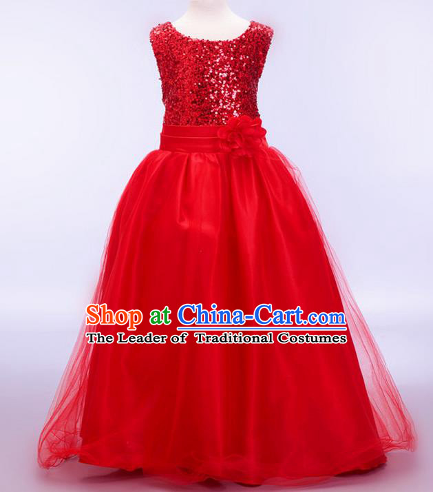 Children Modern Dance Red Sequins Dress Stage Performance Catwalks Compere Costume for Kids