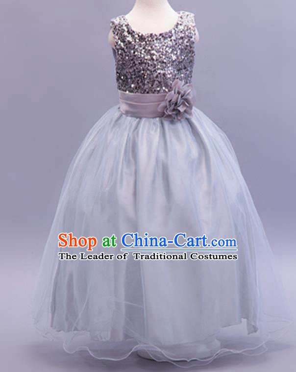 Children Modern Dance Grey Sequins Dress Stage Performance Catwalks Compere Costume for Kids