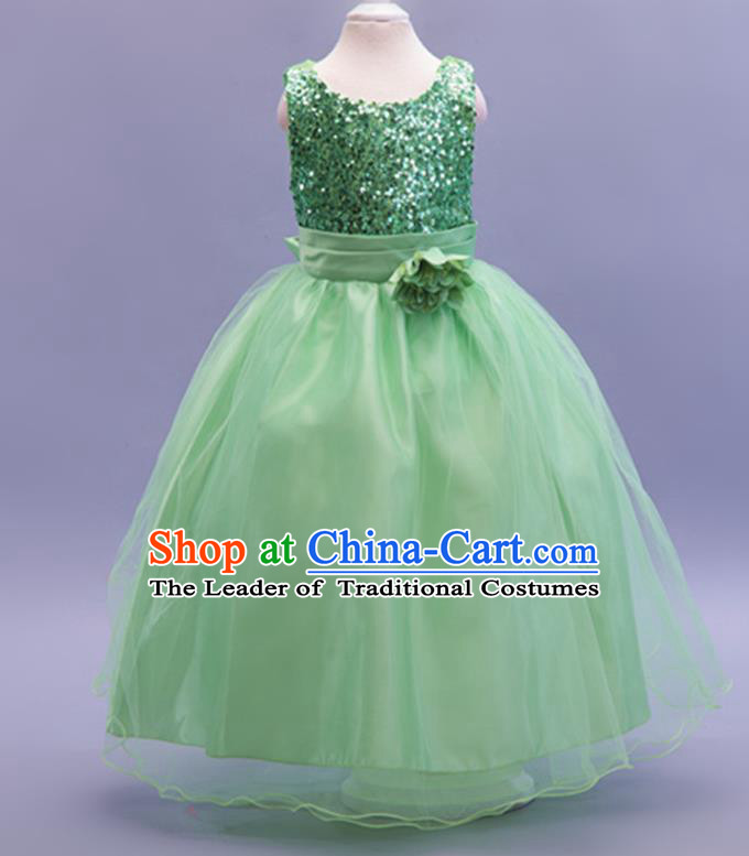 Children Modern Dance Green Sequins Dress Stage Performance Catwalks Compere Costume for Kids