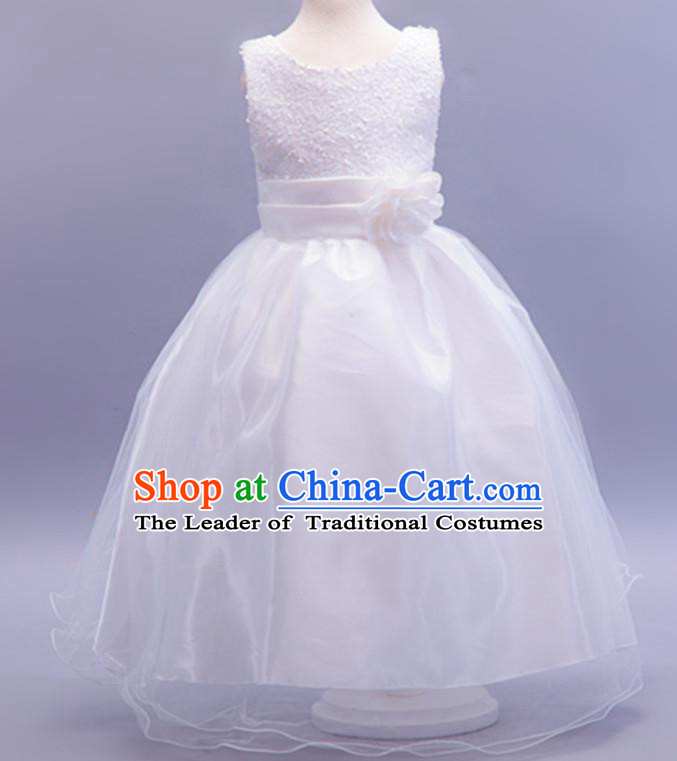 Children Modern Dance White Sequins Dress Stage Performance Catwalks Compere Costume for Kids