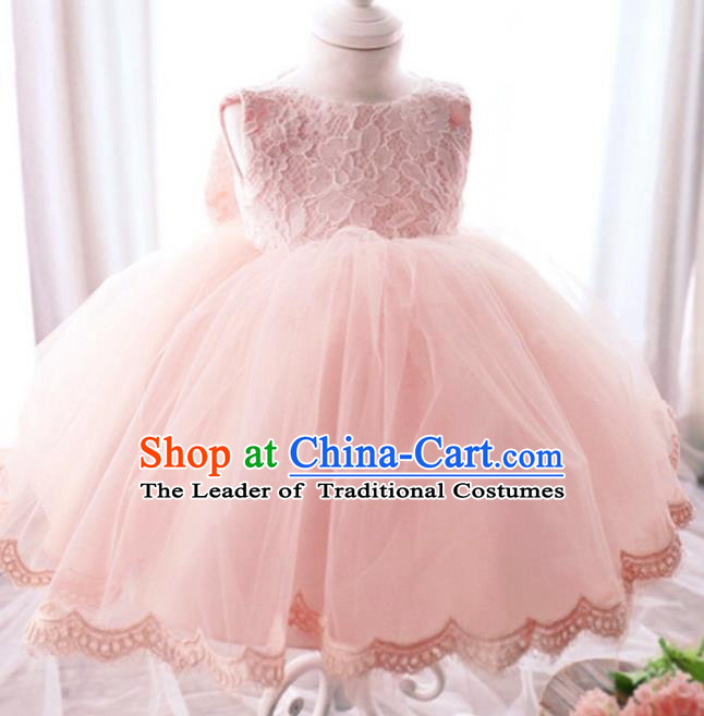 Children Modern Dance Lace Dress Stage Performance Catwalks Compere Costume for Kids