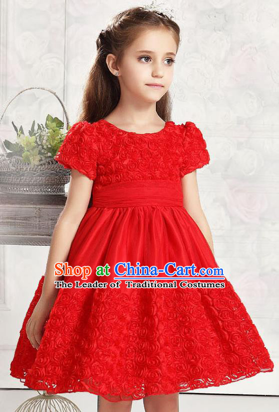 Children Modern Dance Red Rose Dress Stage Performance Catwalks Compere Costume for Kids