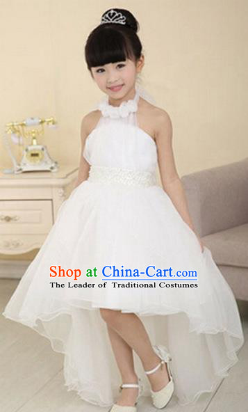 Children Modern Dance Princess White Mullet Dress Stage Performance Catwalks Compere Costume for Kids