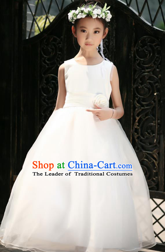 Children Modern Dance Princess White Dress Stage Performance Catwalks Compere Costume for Kids