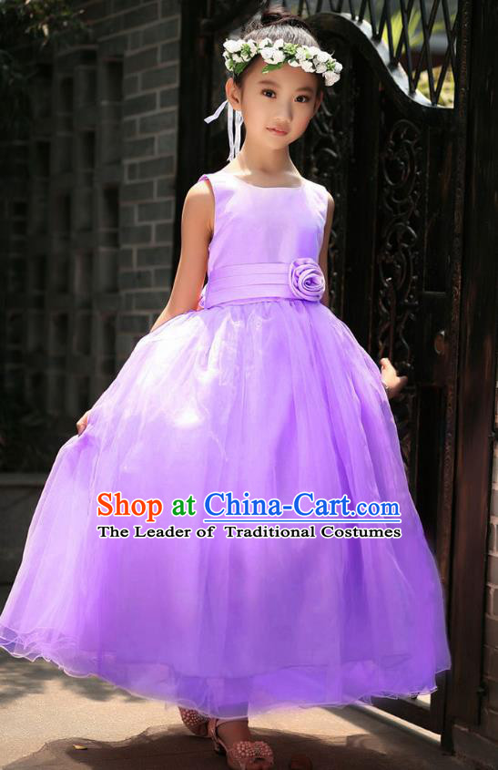 Children Modern Dance Princess Purple Dress Stage Performance Catwalks Compere Costume for Kids