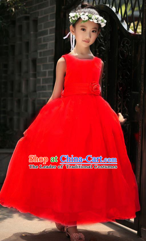Children Modern Dance Princess Red Dress Stage Performance Catwalks Compere Costume for Kids