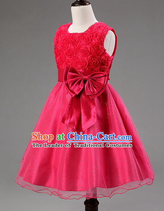 Children Modern Dance Princess Rosy Rose Dress Stage Performance Catwalks Compere Costume for Kids