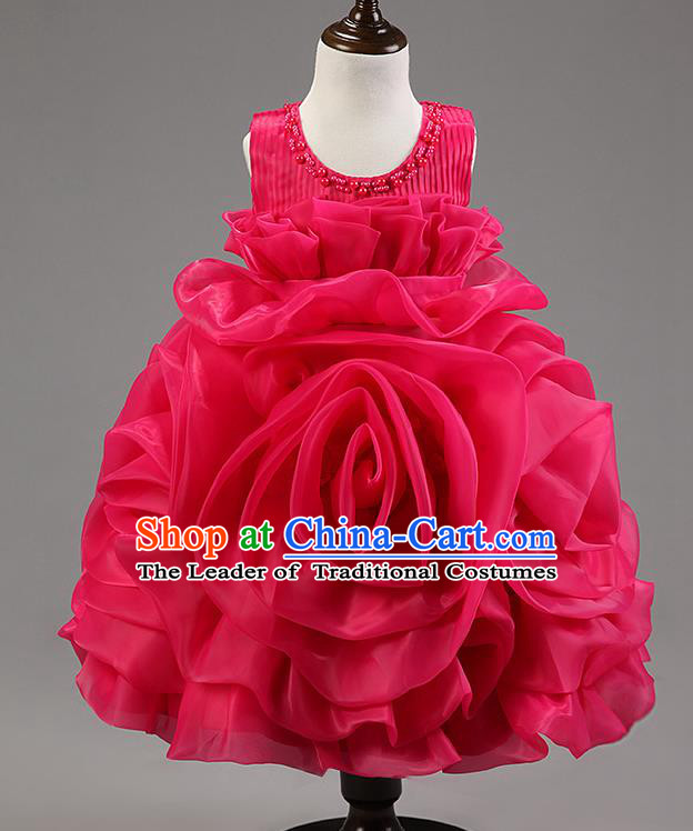 Children Modern Dance Princess Dress Stage Performance Catwalks Compere Rosy Rose Costume for Kids