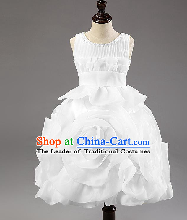 Children Modern Dance Princess Dress Stage Performance Catwalks Compere White Rose Costume for Kids