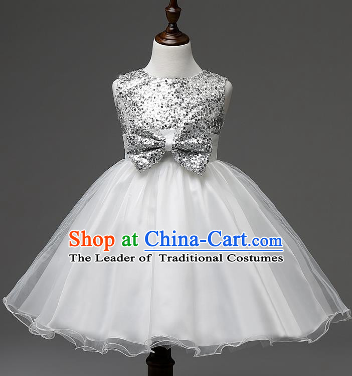 Children Modern Dance Compere White Full Dress Stage Performance Catwalks Costume for Kids