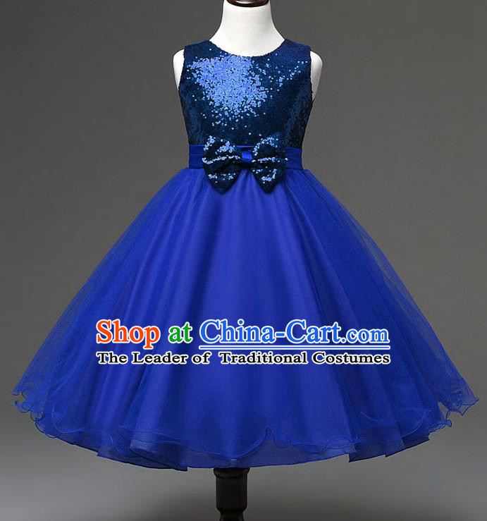 Children Modern Dance Compere Royalblue Full Dress Stage Performance Catwalks Costume for Kids