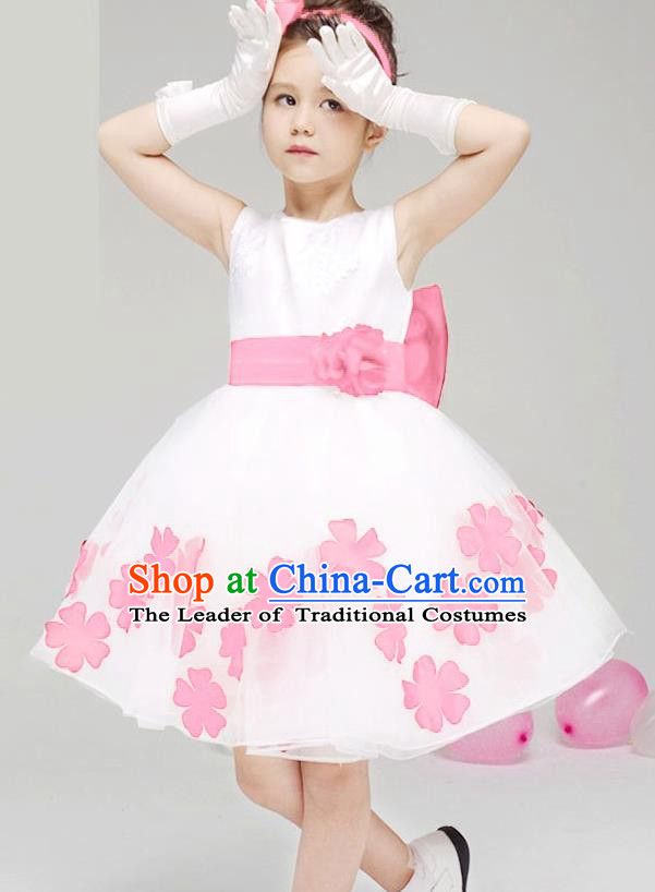 Children Modern Dance Compere Pink Flowers Full Dress Stage Performance Catwalks Costume for Kids