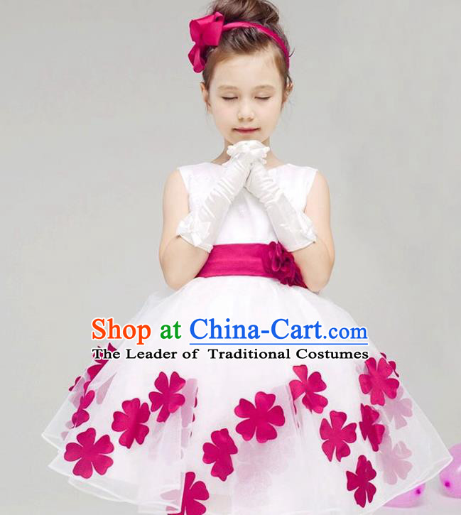 Children Modern Dance Compere Rosy Flowers Full Dress Stage Performance Catwalks Costume for Kids