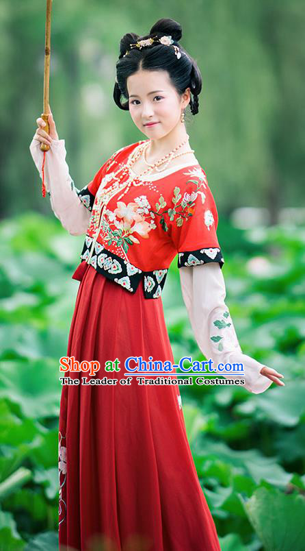 Chinese Tang Dynasty Hanfu Dress Ancient Princess Embroidered Costumes Complete Set for Women