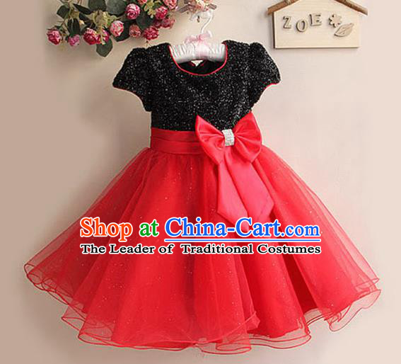 Children Modern Dance Red Bubble Dress Stage Performance Compere Catwalks Costume for Kids