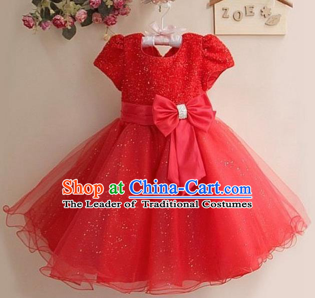 Children Modern Dance Red Full Dress Stage Performance Compere Catwalks Costume for Kids