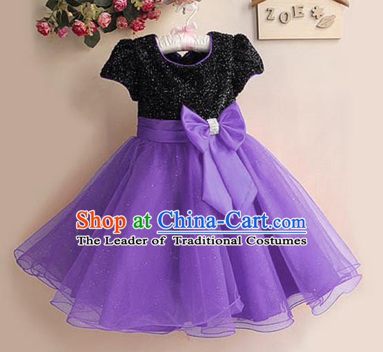 Children Modern Dance Purple Bubble Dress Stage Performance Compere Catwalks Costume for Kids