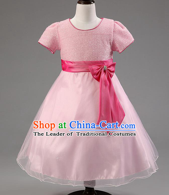 Children Modern Dance Pink Bowknot Bubble Dress Stage Performance Compere Catwalks Costume for Kids