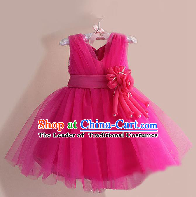 Children Modern Dance Rosy Flower Bubble Dress Stage Performance Compere Catwalks Costume for Kids