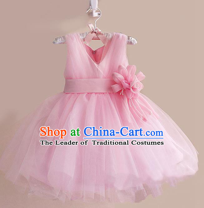 Children Modern Dance Pink Flower Bubble Dress Stage Performance Compere Catwalks Costume for Kids