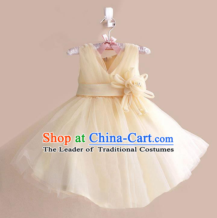 Children Modern Dance Yellow Flower Bubble Dress Stage Performance Compere Catwalks Costume for Kids