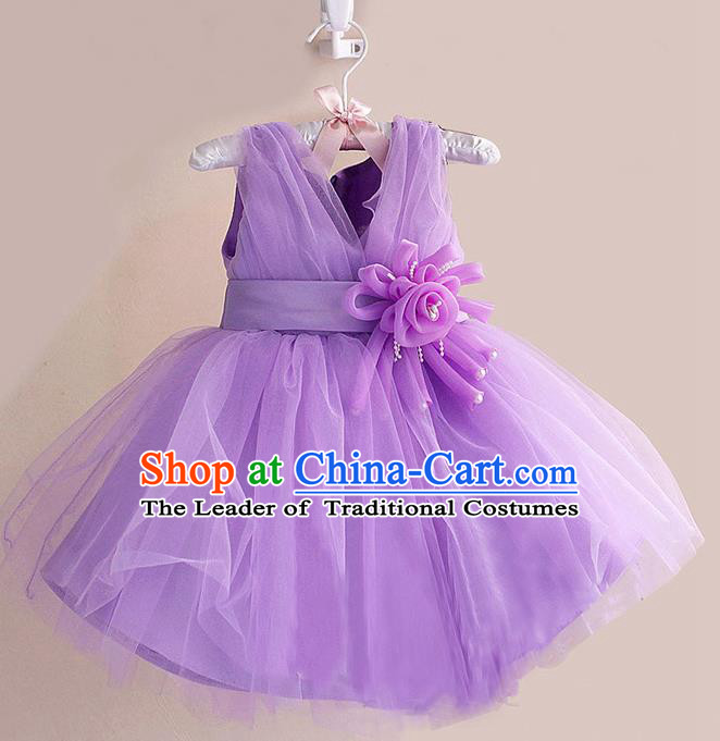 Children Modern Dance Purple Flower Bubble Dress Stage Performance Compere Catwalks Costume for Kids