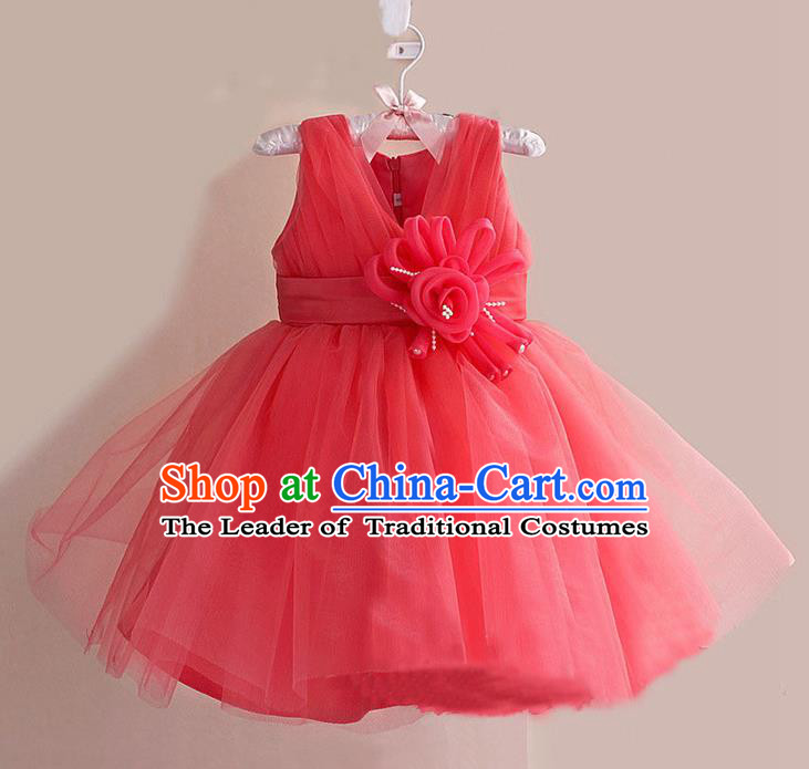 Children Modern Dance Watermelon Red Flower Bubble Dress Stage Performance Compere Catwalks Costume for Kids
