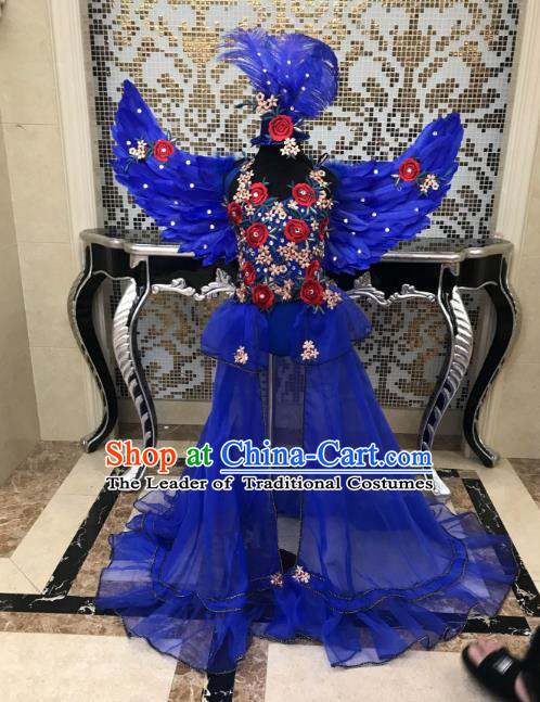 Children Modern Dance Full Dress Stage Performance Catwalks Costume Blue Feather Swimsuit and Wings for Kids