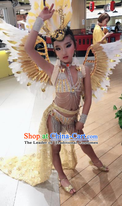 Children Catwalks Costume Brazilian Carnival Samba Dance Swimsuit and Deluxe Feather Wings for Kids