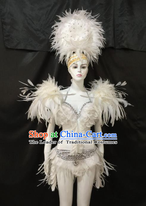 Children Catwalks Costume Brazilian Carnival Samba Dance Deluxe Feather Swimsuit and Headwear for Women