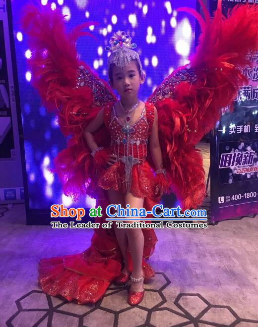 Children Catwalks Costume Brazilian Carnival Samba Dance Red Feather Swimsuit and Wings Headwear for Kids