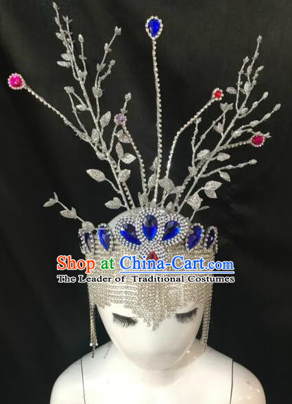 Top Grade Halloween Catwalks Hair Accessories Brazilian Carnival Samba Dance Crystal Headwear for Kids