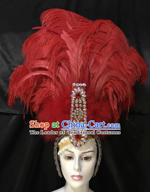 Top Grade Brazilian Carnival Samba Dance Hair Accessories Miami Red Feathers Deluxe Headdress for Women
