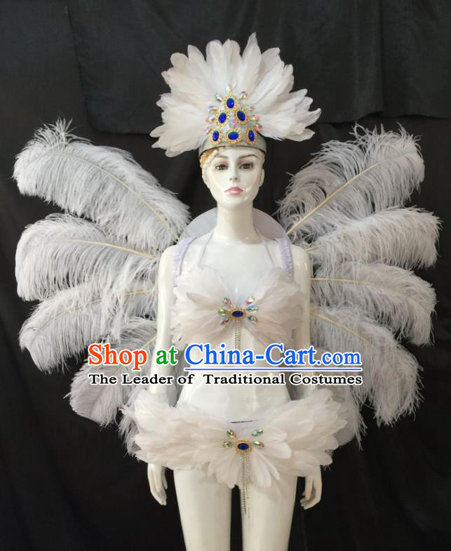 Top Grade Brazilian Carnival Samba Dance Costume Miami Catwalks White Feather Swimsuit and Angel Wings for Women